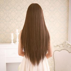 Long Silky Straight Neat Bang Dyeable Synthetic Party Wig -