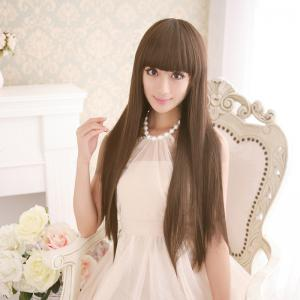 Long Silky Straight Neat Bang Dyeable Synthetic Party Wig - LIGHT BROWN