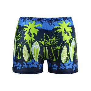 Lace Up Floral Printed Swimming Trunks - GREEN L