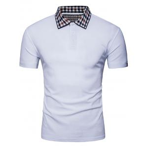 Half Button Checked Collar Polo Shirt