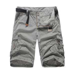 Pockets Zip Fly Striped Cargo Pants - Gray - 32