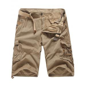 Pockets Zip Fly Striped Cargo Pants