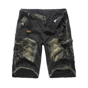 Multi Pockets Tie Dye Cargo Shorts - Deep Gray - 32