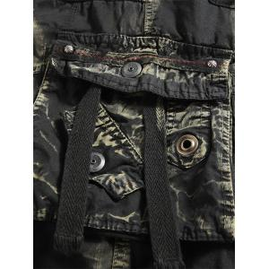 Multi Pockets Tie Dye Cargo Shorts - DEEP GRAY 32