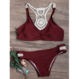 Crochet Lace Insert 2 Pieces Bikini Swimwear