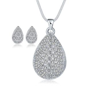 Rhinestone Waterdrop Wedding Jewelry Set - Silver