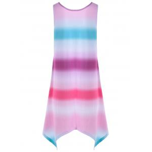 Ombre Handkerchief Hem Sleeveless Dress - MULTI L