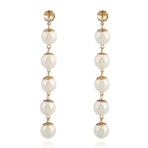 Faux Pearl Super Long Ball Earrings - Golden