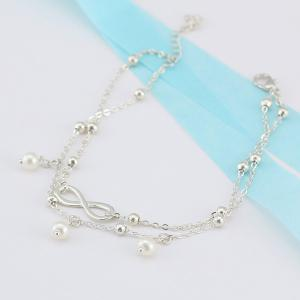 Beads Faux Pearl 8 Shape Double Layered Anklet - SILVER
