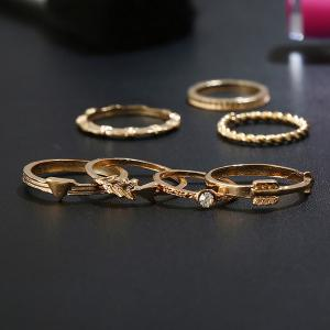 Alloy Rhinestone Love Arrow Ring Set - GOLDEN