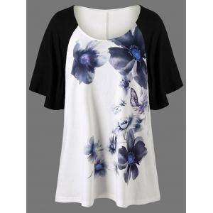 Raglan Sleeve Floral Painted Plus Size T-Shirt