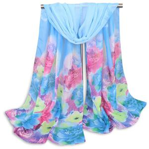 Multicolor Flowers Painted Printing Shawl Scarf