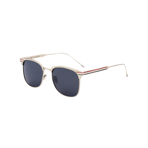 Stripe Leg Metallic Frame Mirror Sunglasses - Silver Frame + Black Lens