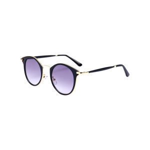 Cat Eye Ombre Metal Frame Wrap Sunglasses - Black Frame+grey Lens