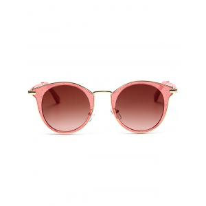 Cat Eye Ombre Metal Frame Wrap Sunglasses - RED+RED