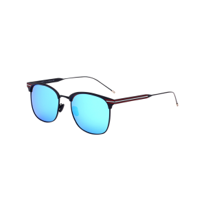 Metal Stripe Leg Anti UV Mirrored Sunglasses