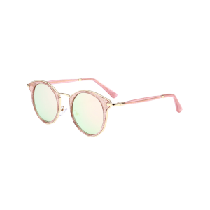Metal Frame Wrap Cat Eye Round Sunglasses