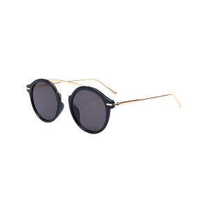 Metallic Long Crossbar Mirror Round Sunglasses - Black