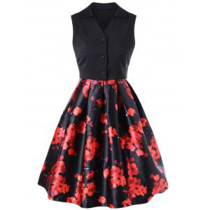 Retro Floral Knee Length Dress With Back Bowtie