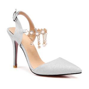 Glitter Faux Pearls Pumps