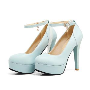 Ankle Strap Cone Heel Pumps - LIGHT BLUE 38