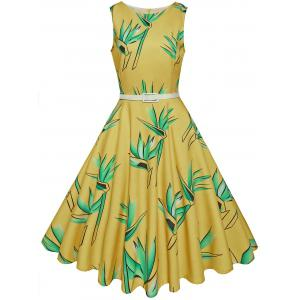Vintage High Waist Printed Belted Midi Dress - Yellow - S