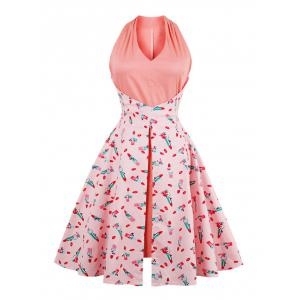 Lip Print V Neck Vintage Dress