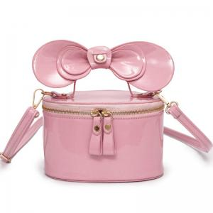 Bowknot Patent Leather Crossbody Bag - Pink