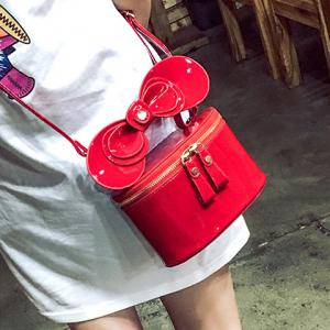 Bowknot Patent Leather Crossbody Bag - RED