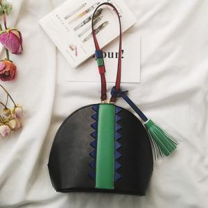 Tassel Color Blocking Crossbody Bag -
