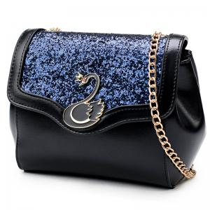 Swan Sequin Panel Crossbody Bag -