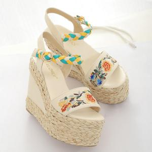 Weaving Embroidery Platform Sandals -