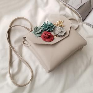 Flowers Faux Leather Crossbody Bag -
