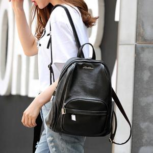 Casual Textured PU Leather Backpack - BLACK