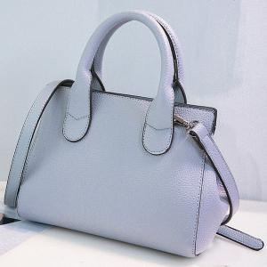 Faux Leather Hollow Out Handbag - BLUE