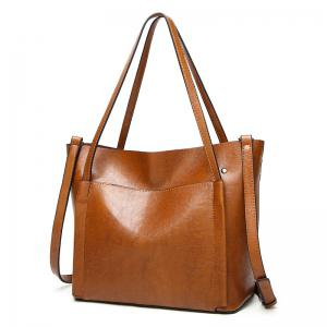 Front Pocket Faux Leather Tote Bag - Brown