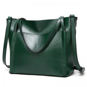 Front Pocket Faux Leather Tote Bag - Green