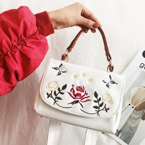 Embroidered Wide Shouder Strap Handbag - White