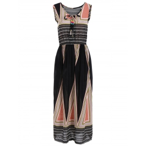 Triangle Print Elastic Waist Sleeveless Tea Length Dress - Black - One Size