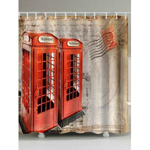 Telephone Booth Fabric Bathroom Shower Curtain - Brown Beige - W71inch * L79inch