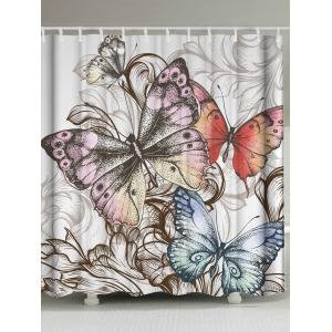 Vintage Fabric Butterfly Print Shower Curtain - Colormix - W71inch * L71inch