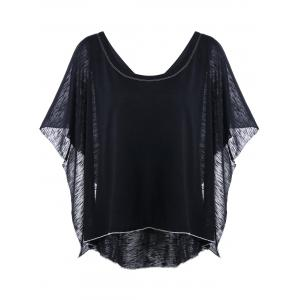 Dolman Sleeve Asymmetric Ruffled T-Shirt