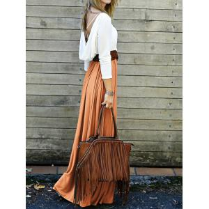 Long Sleeve Backless Maxi Pleated Flowy Dress - ORANGE XL