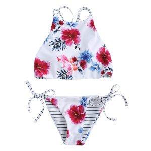 Floral High Neck 2 Piece Swimsuit - WHITE M