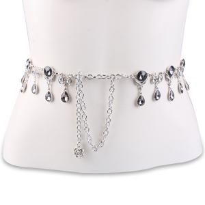 Rhinestone Water Drop Jewelled Waist Belt