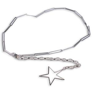 Hollow Out Pentagram Link Chain Waist Belt - Silver - One Size(fit Size Xs To M)