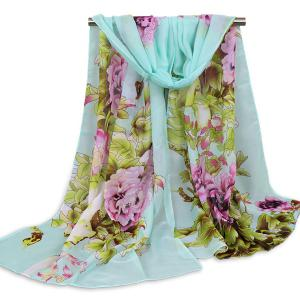 Floral Blossom Wash Painting Shawl Scarf - Pantone Turquoise