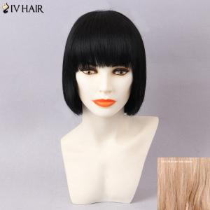 Siv Hair Short Full Bang Silky Straight Bob Human Hair Wig