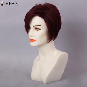 Siv Hair Short Layered Pixie Side Bang Human Hair Wig -