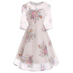 Semi Sheer Floral Print Flare Organza Dress